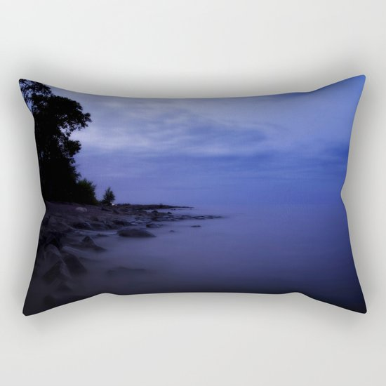 When the night falls - Blue hour at the Sea Landscape at Night #Society6 Rectangular Pillow