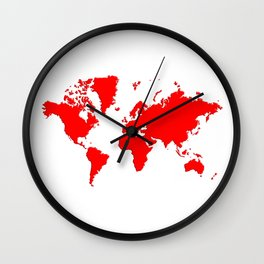 World with no Borders - true red Wall Clock