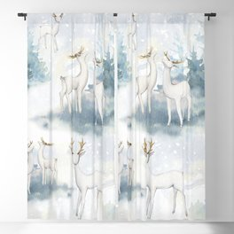 Snowy Winter Forest Blackout Curtain