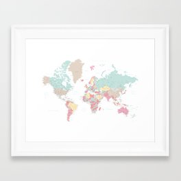 Pastel world map with cities - SIZES LARGE & XL ONLY Framed Art Print