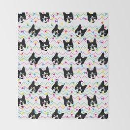 CMYK Cat Pattern Throw Blanket