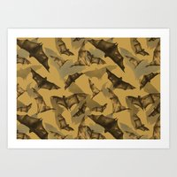 bats Art Prints featuring Bats by Deborah Panesar Illustration