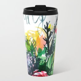 watercolor colorful bouquet with red rose Travel Mug