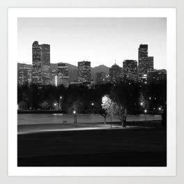 Denver Skyline Square Format - Black and White Art Print