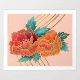 Peonies and Gold Stripes - Pink and Orange Art Print