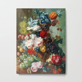 Fruit and Flowers in a Terracotta Vase by Jan van Os Metal Print