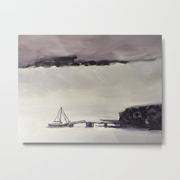 storm with heavy fog in Newfoundland Metal Print