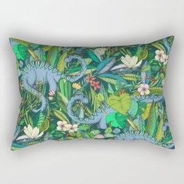 Improbable Botanical with Dinosaurs - dark green Rectangular Pillow