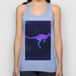 WALLABY IN SPACE // Animal Graphic Art // Watercolor Canvas Painting // Modern Minimal Cute Unisex Tank Top