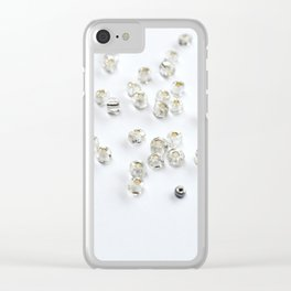 Clear and silver beads Clear iPhone Case