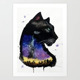 Galaxy Panther Art Print