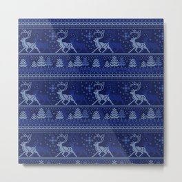 Christmas knitted pattern Metal Print