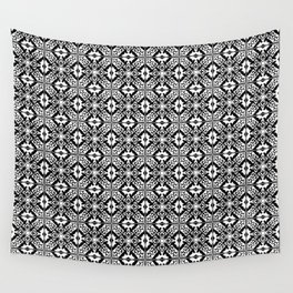 Moroccan Tile Pattern in Black and White Wall Tapestry