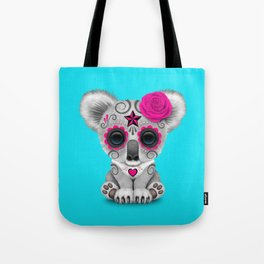 Pink and Blue Day of the Dead Sugar Skull Baby Koala Bear Tote Bag