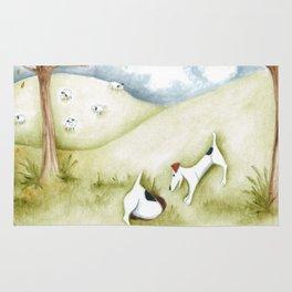 Dog sheep original art Jack Russell Terrier painting landscape Rug