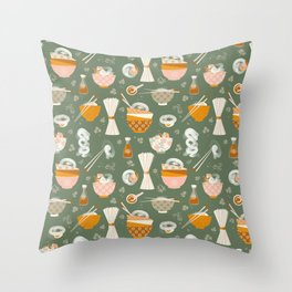 Noodle bowl dishes Throw Pillow