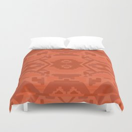 Geometric Aztec in Chile Red Duvet Cover