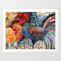 cock Art Prints featuring cock by oxana zaika