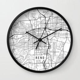 Reno Map, USA - Black and White Wall Clock