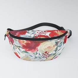 Red teal hand painted boho watercolor roses floral Fanny Pack