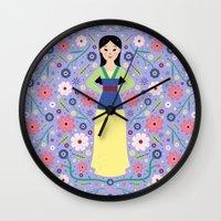 mulan Wall Clocks featuring Mulan by Carly Watts