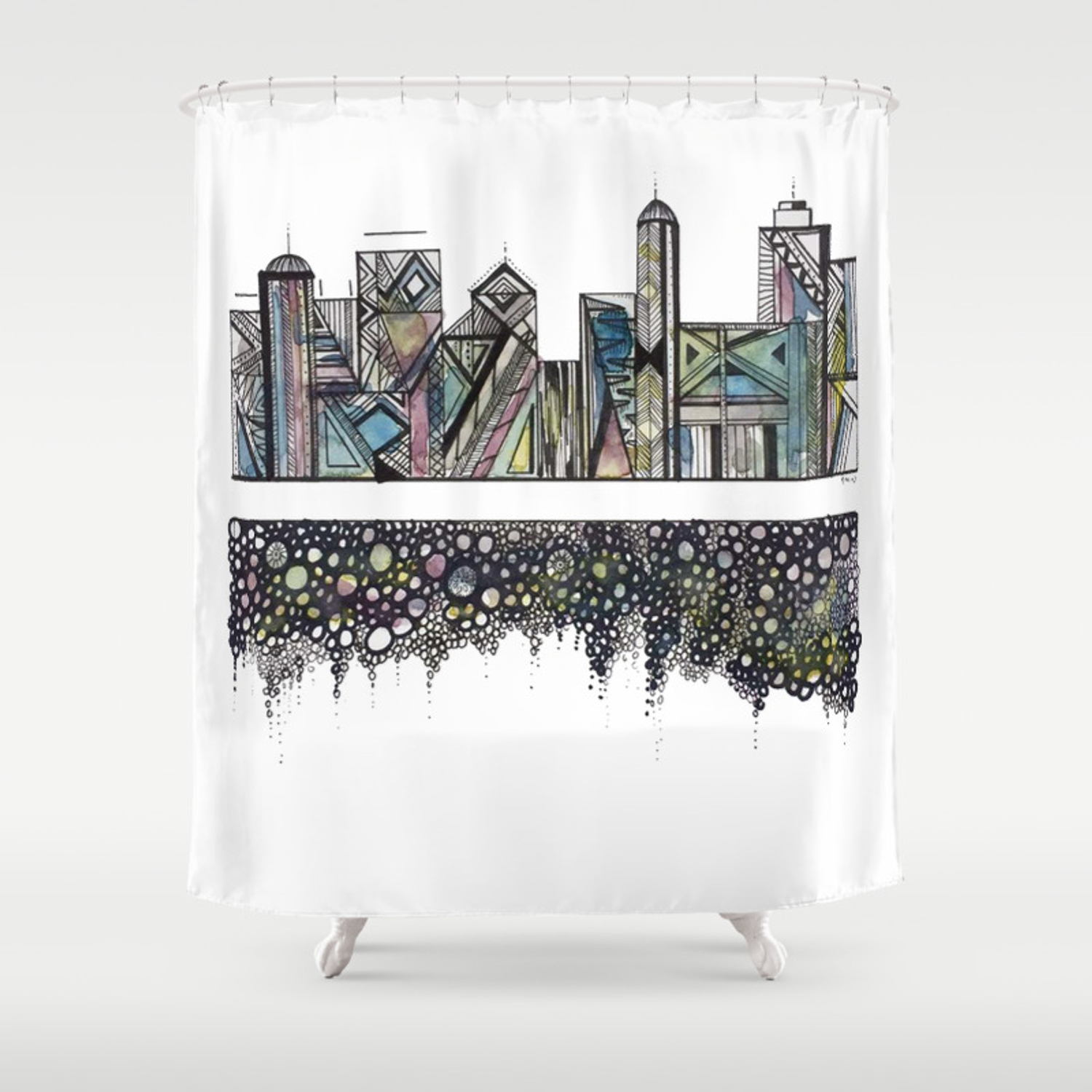 Geometric Versus Organic Shower Curtain