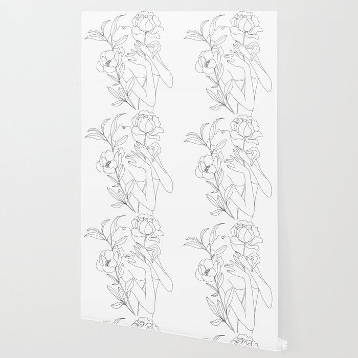 Minimal Line Art Woman with Peonies Wallpaper