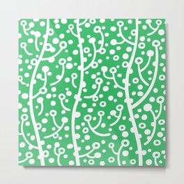 Mid Century Modern Spring Blossoms Green Metal Print