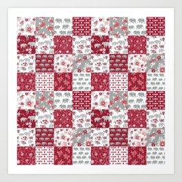 Alabama bama crimson tide quilt pattern florals football varsity alumni Art Print