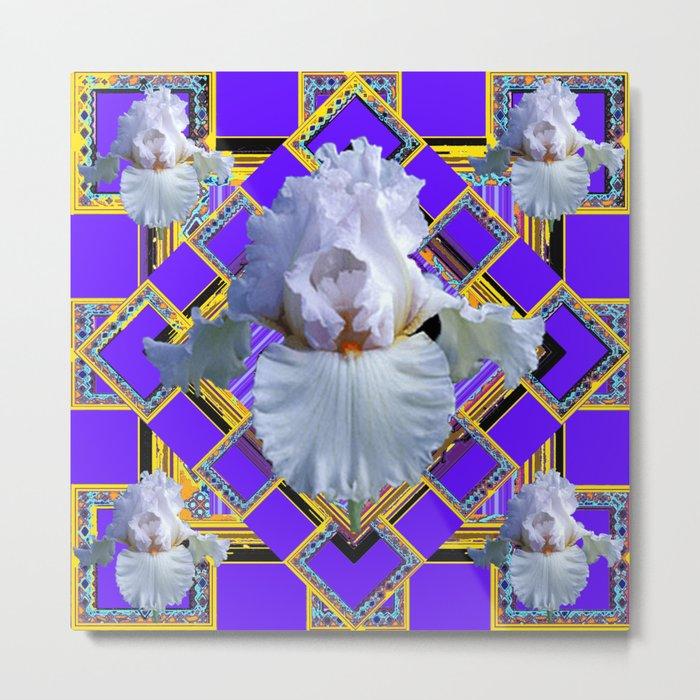 ART DECO WHITE IRIS PURPLE ART Metal Print