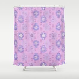 Lotus flower - pink and light blue woodblock print style pattern Shower Curtain