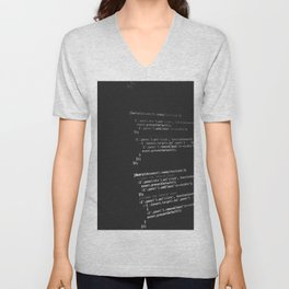 BLACK - WHITE - PROGRAMMING - CODE - TECH Unisex V-Neck