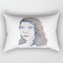 """SERIOUS - pencil illustration """"screen print"""" Rectangular Pillow"""