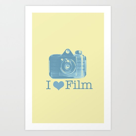 I ♥ Film (Yellow/Blue) Art Print