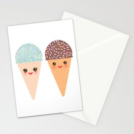 Ice cream waffle cone Kawaii funny muzzle with pink cheeks and winking eyes, pastel colors Stationery Cards