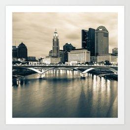 Columbus Ohio and Buckeye City Skyline - Sepia Edition 1x1 Art Print
