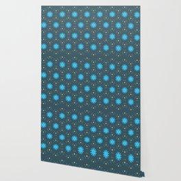 Aqua Multiflower Design Wallpaper