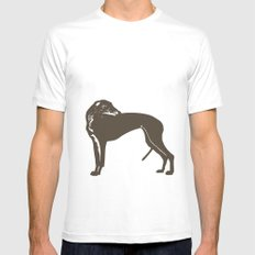 Greyhound Dog Mens Fitted Tee White MEDIUM