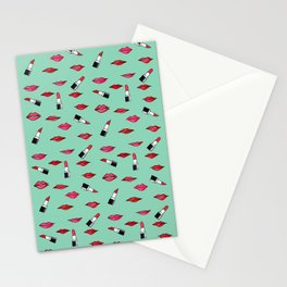 Lips and lispticks pattern in tropical background Stationery Cards