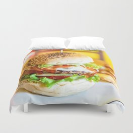Enjoy Your Burger, Tasty Juicy American Beef Burger, Fast-Food Restaurant, Food Photography Duvet Cover