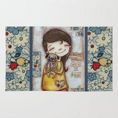 Pug Hug by Diane Duda Rug