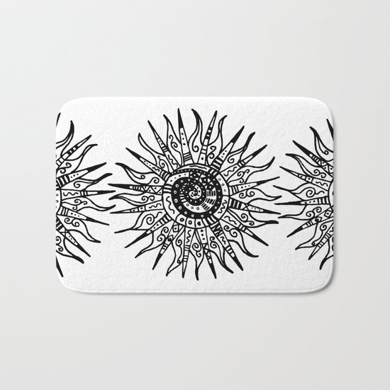Sun Doodle black and white drawing Bath Mat