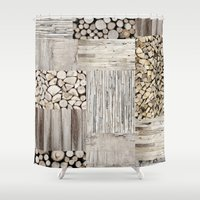 wood Shower Curtains featuring Wood by LebensART