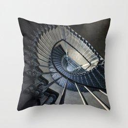 Forgotten blue staircase Throw Pillow