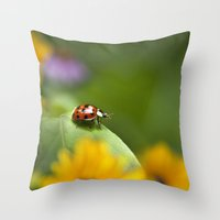ladybug Throw Pillows featuring Ladybug by Christina Rollo