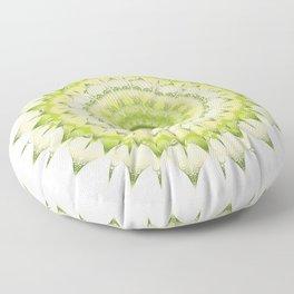 Delicate Mandala green on white Floor Pillow