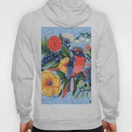 Coral Songbird and Flowers Acrylic Painting Hoody