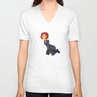 black widow V-neck T-shirts featuring Black Widow by Kelslk