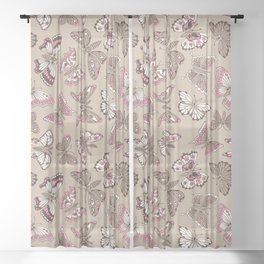 Butterflies pattern Sheer Curtain