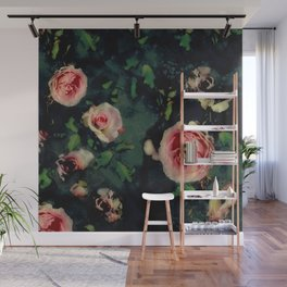 Big Pink Roses and Green Leaves Graphic Wall Mural